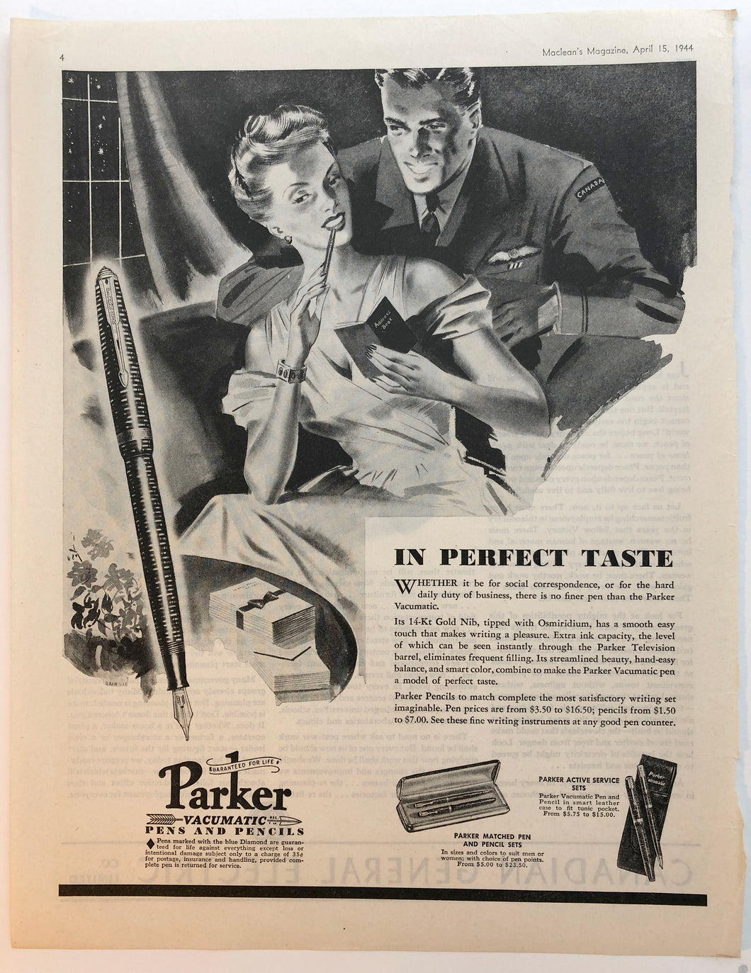 Vintage Magazine Advertising ; Parker Vacumatic
