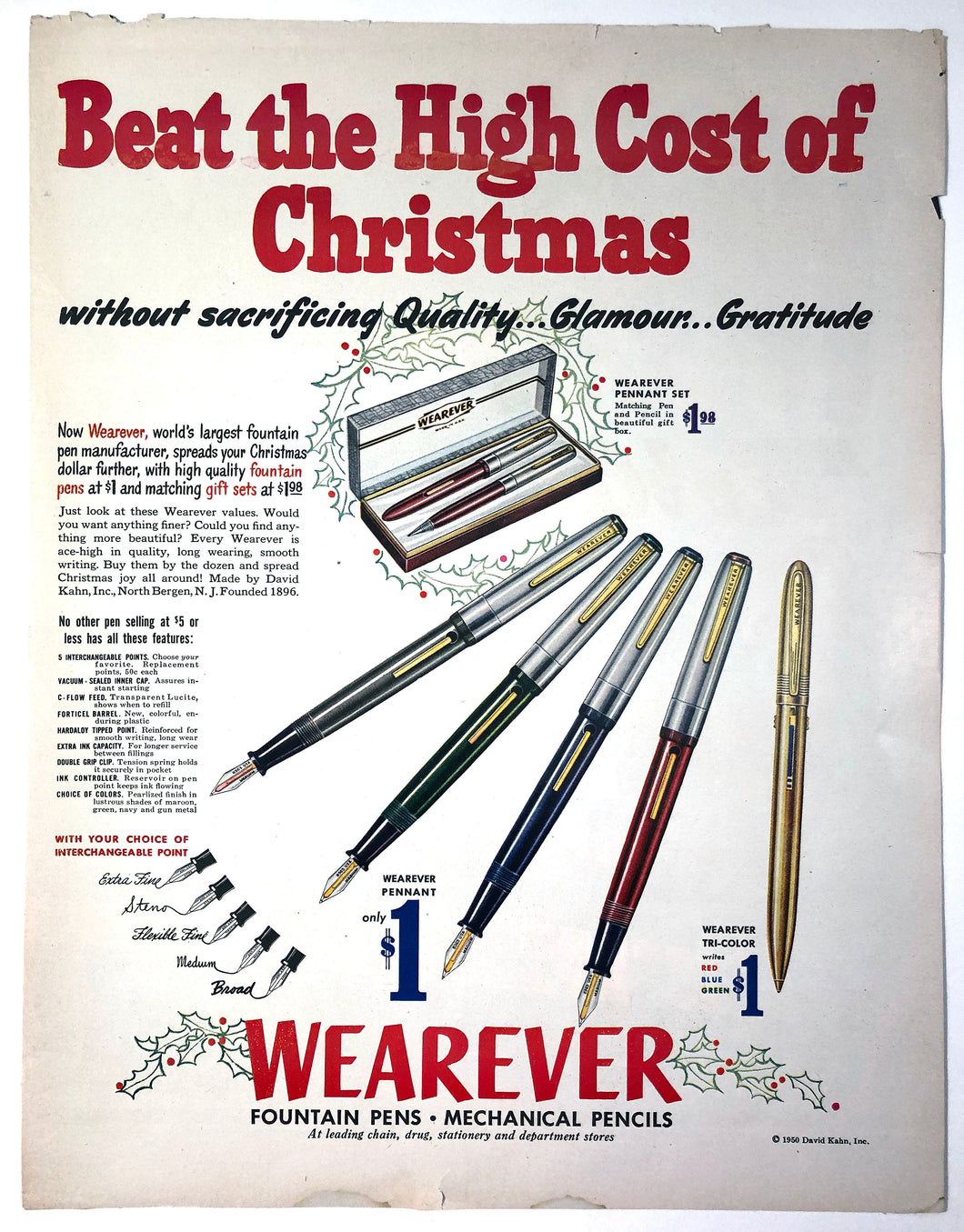 Vintage Magazine Advertising ; Wearever Christmas