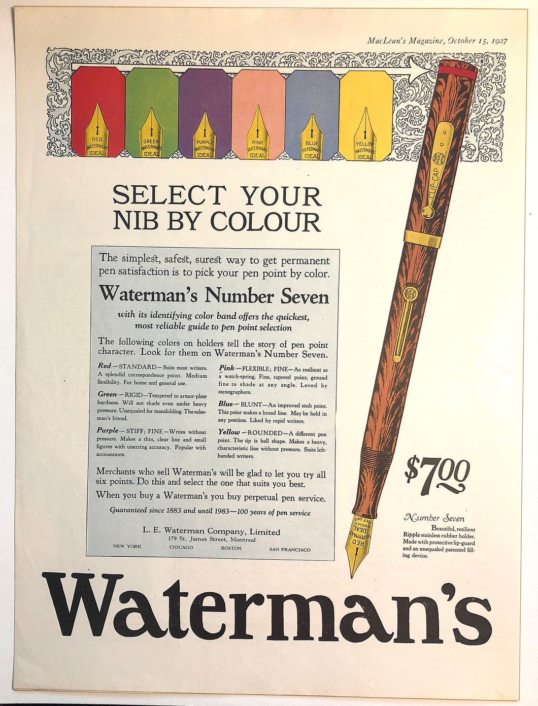 Waterman's Ripple The colour band inlay, MacLean's Magazine, October 15, 1927