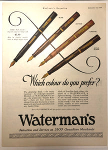 Waterman's Ripple 4 colours, MacLean's Magazine, September 15, 1926