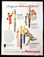 Vintage Magazine Advertising ; Waterman's Taperite