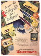 Vintage Magazine Advertising ; Waterman's Christmas