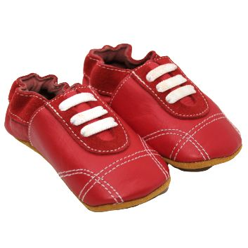 Chaussons cuir souple - Basket sport rouge - Kerbaby