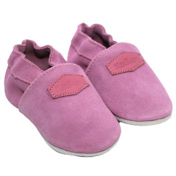 Chaussons cuir souple fille - Nubuck rose - Kerbaby
