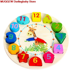 Montessori Infant Children Educational Wooden Clock Beaded Beads Intelligence Learning Education Birthday Gift Block Math Toys