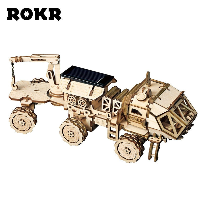 ROKR DIY Movable Discover Rover Solar Energy Toys 3D Wooden Puzzle Assembly Model Building Kits Toys For Children Adult LS504