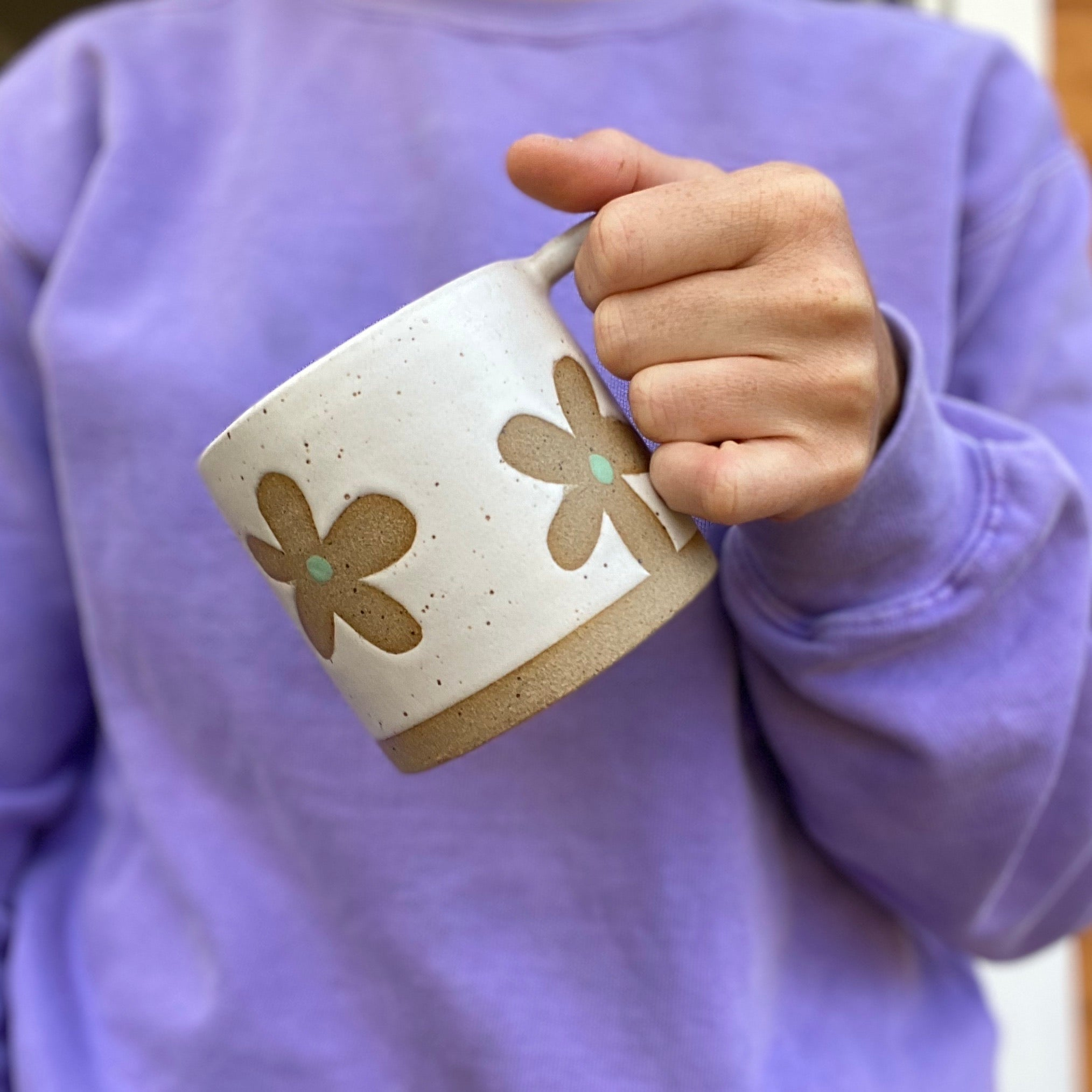 Flower Power Mug-Cool Tone Clay