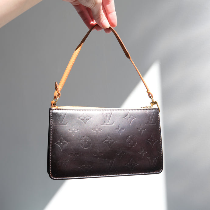 Matte Black Re dyed Vintage Louis Vuitton Vernis Pochette