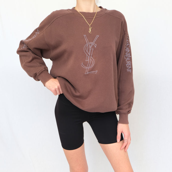 Vintage Yves Saint Laurent Chocolate Brown Embroidered Sweatshirt