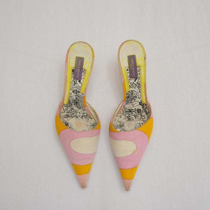 Vintage Emilio Pucci Abstract Pastel Mules