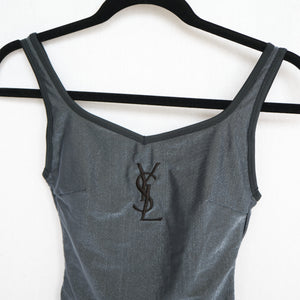 90s Yves Saint Laurent Swimsuit With Logo Embroidery