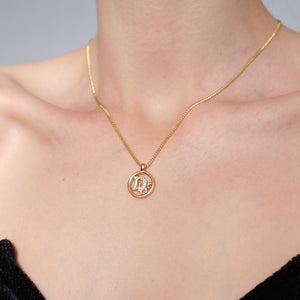 Vintage Christian Dior Logo Pendant Necklace