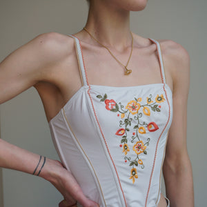 Perfect True Vintage 70s Embroidered Corset