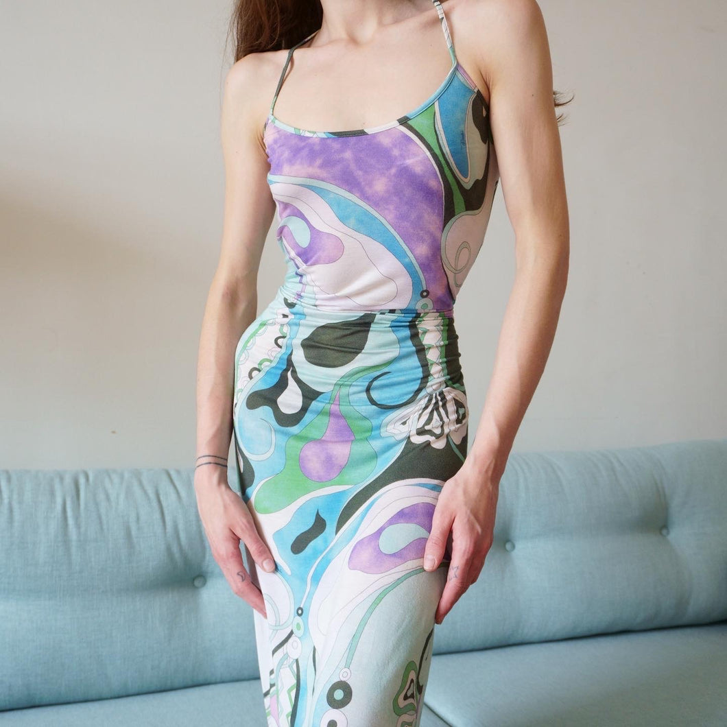 Emilio Pucci Slinky Abstract 90s Dress