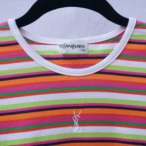 YSL Candy Striped Embroidered Baby Tee