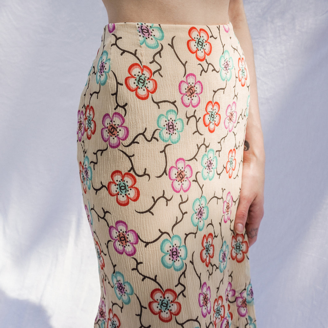 Vintage Chanel Silk Floral Skirt