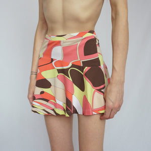 Emilio Pucci Green and Pink Mini Skirt