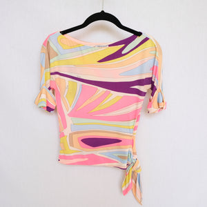 Vintage Emilio Pucci Abstract Tie Up Top