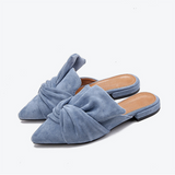 Women Slippers Flock Bowtie Female Mules Fashion Low Heels Shoes
