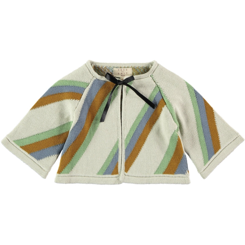 Coco Au Lait BABYKNIT CROPPED STRIPED JACKET Sweater Multicolor Stripes
