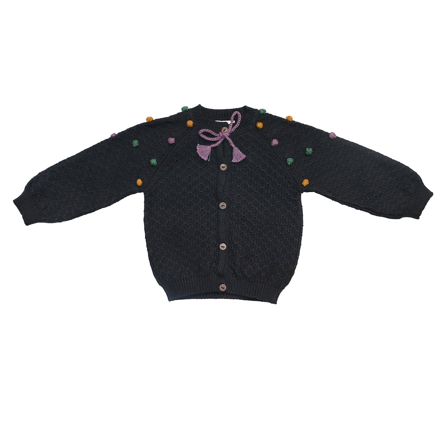 Load image into Gallery viewer, Coco Au Lait BABY BLACK FANTASY CARDIGAN Sweater Caviar