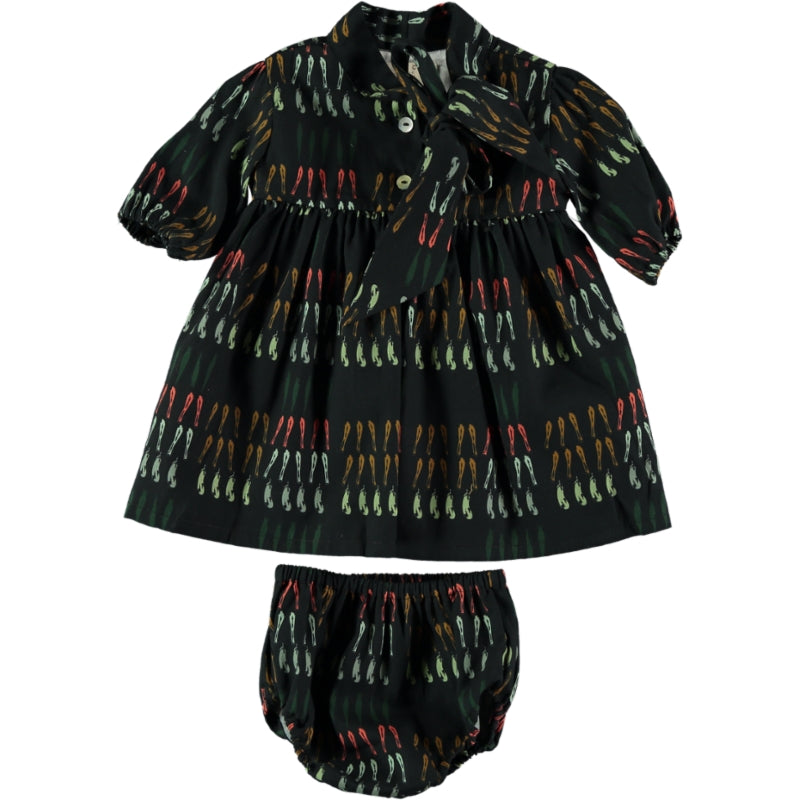 Coco Au Lait BABY BLACK VEGETABLES DRESS Dress Caviar