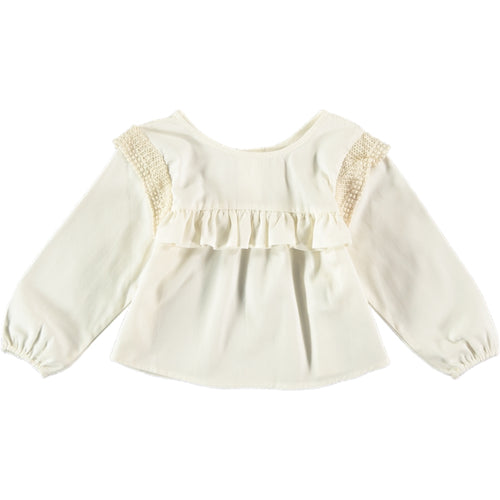 Coco Au Lait BABY BLOUSE WITH FLOUNCES Blouse Antique White