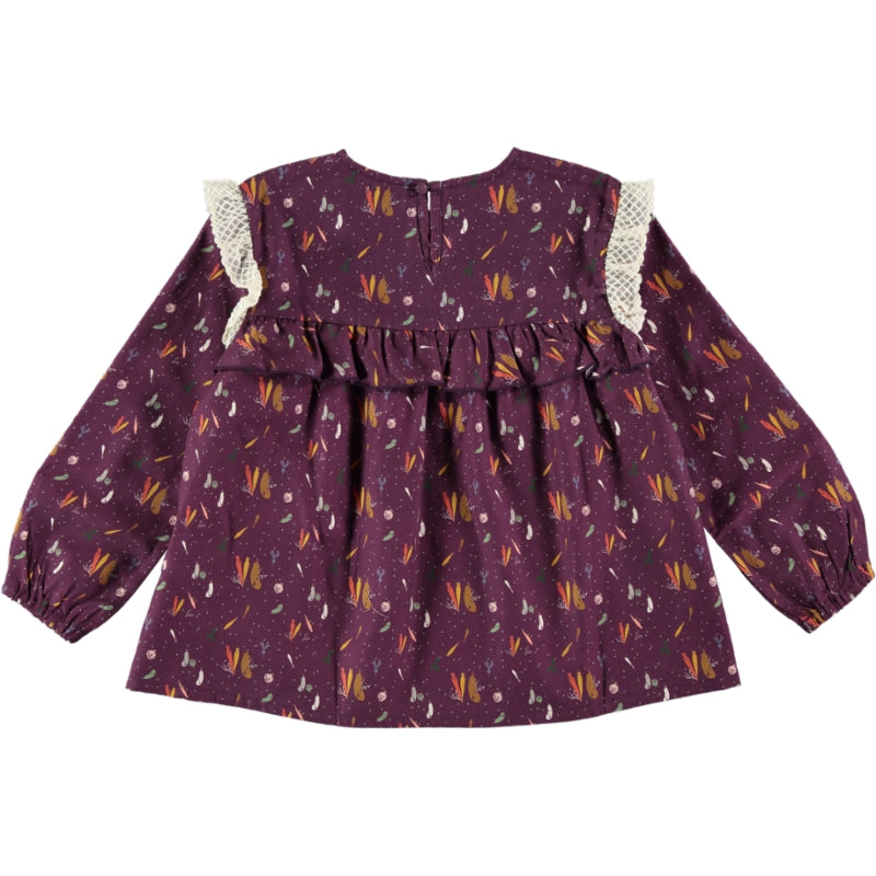 Load image into Gallery viewer, Coco Au Lait BABY BURGUNDY PRINTED BLOUSE Blouse Prune Purple