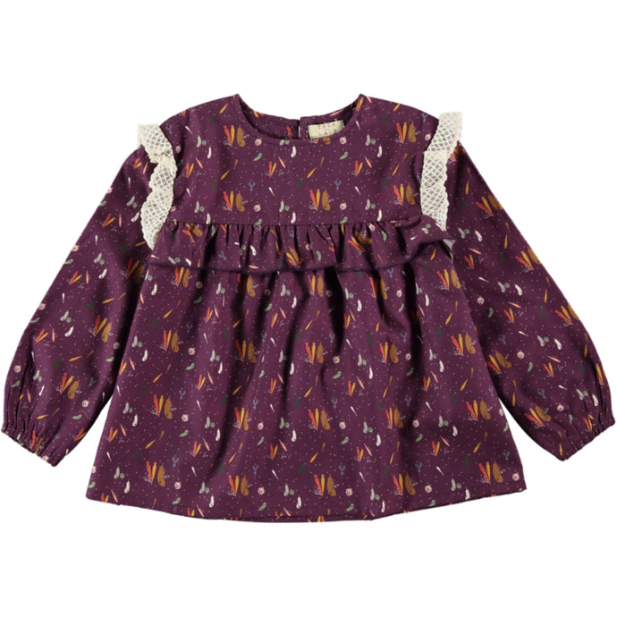 Coco Au Lait BABY BURGUNDY PRINTED BLOUSE Blouse Prune Purple