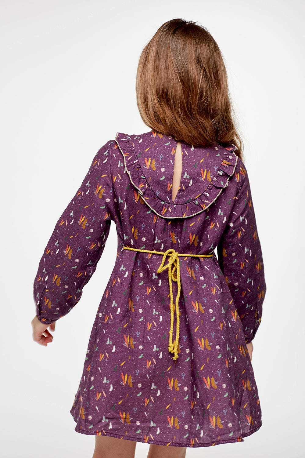 Load image into Gallery viewer, Coco Au Lait BABY BURGUNDY PRINTED DRESS Dress Prune Purple