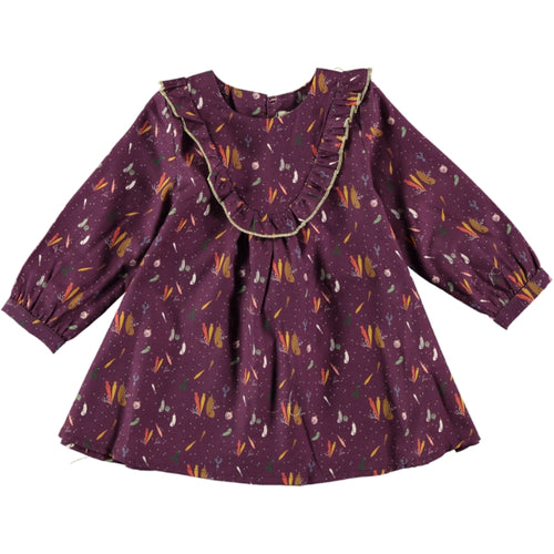 Coco Au Lait BABY BURGUNDY PRINTED DRESS Dress Prune Purple