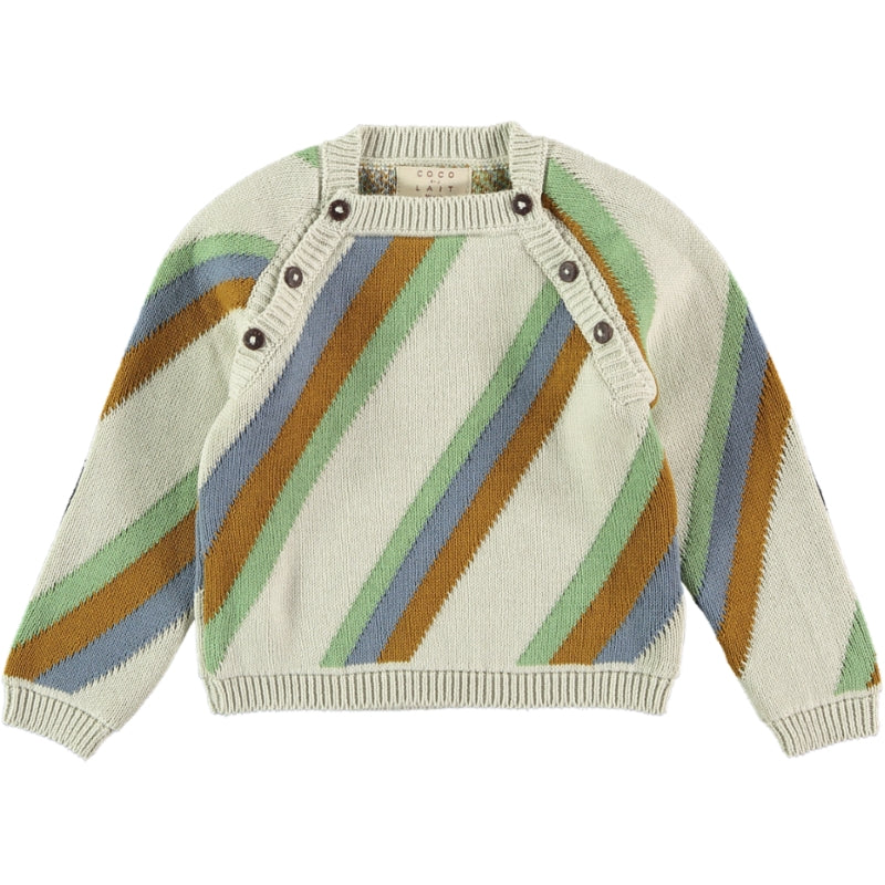 Load image into Gallery viewer, Coco Au Lait BABY KNITTED STRIPED SWEATER Sweater Multicolor Stripes