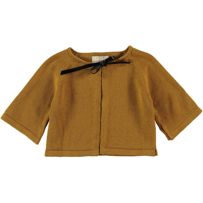Load image into Gallery viewer, Coco Au Lait BABY KNIT CROPPED JACKET Sweater Golden Brown