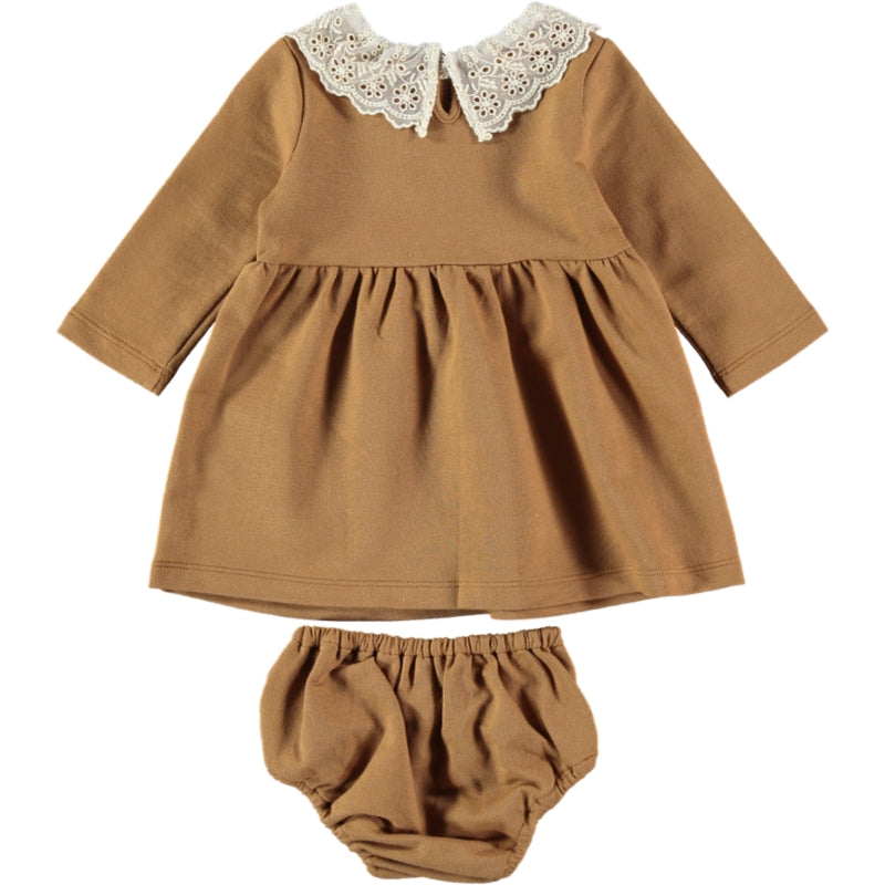 Load image into Gallery viewer, Coco Au Lait BABY MUSTARD FRENCH TERRY DRESS Dress Golden Brown