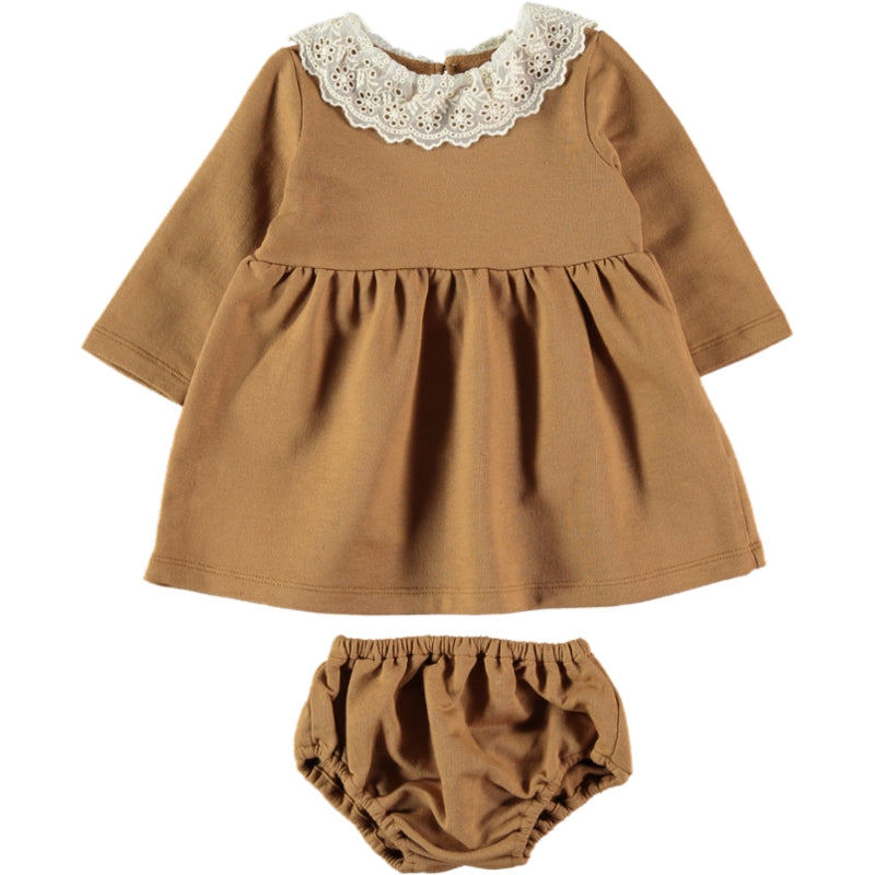 Coco Au Lait BABY MUSTARD FRENCH TERRY DRESS Dress Golden Brown