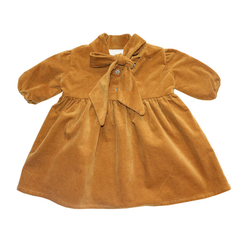 Coco Au Lait BABY MUSTARD VELVETEEN DRESS Dress Golden Brown