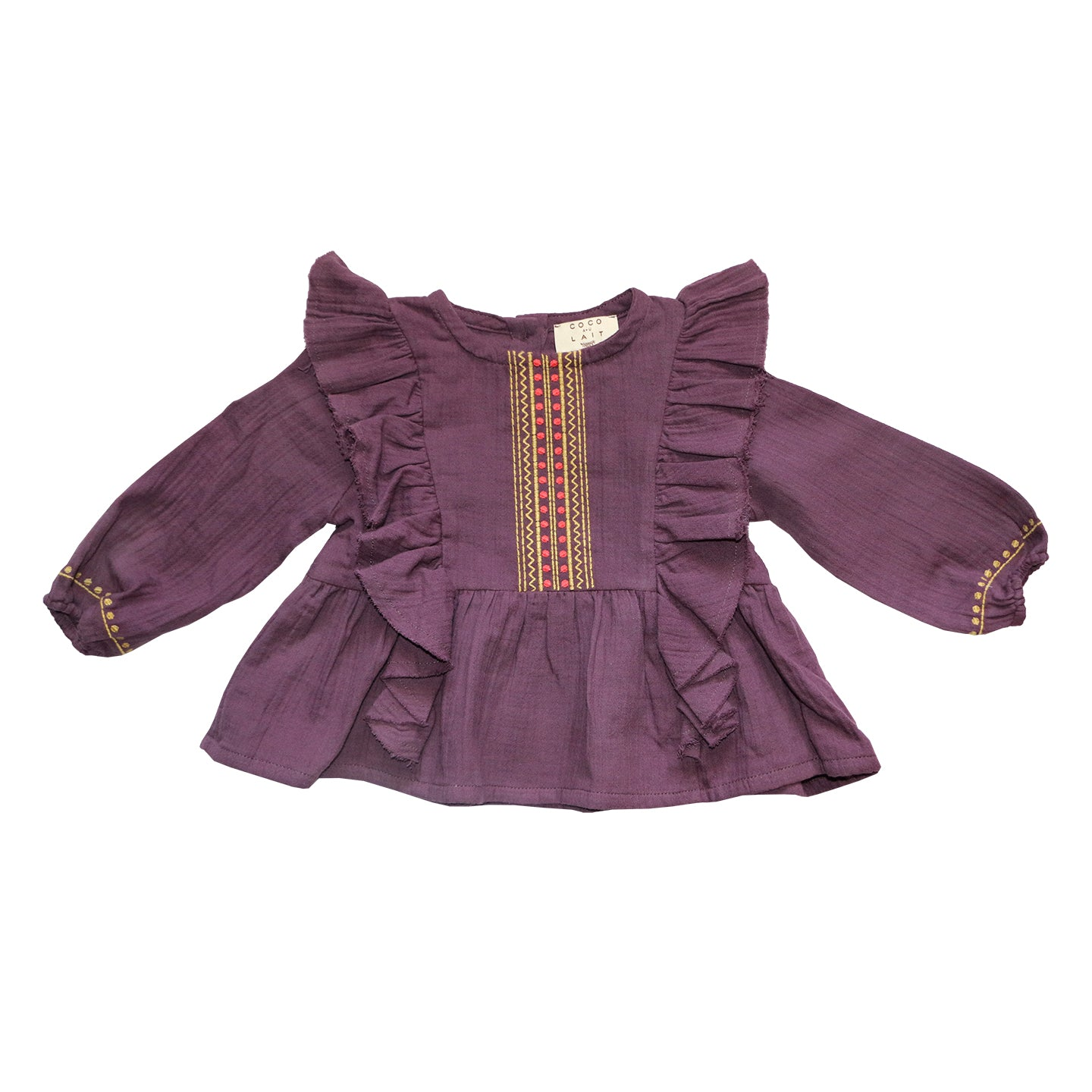 Load image into Gallery viewer, Coco Au Lait BABY BURGUNDY EMROIDERED BLOUSE Blouse Prune Purple
