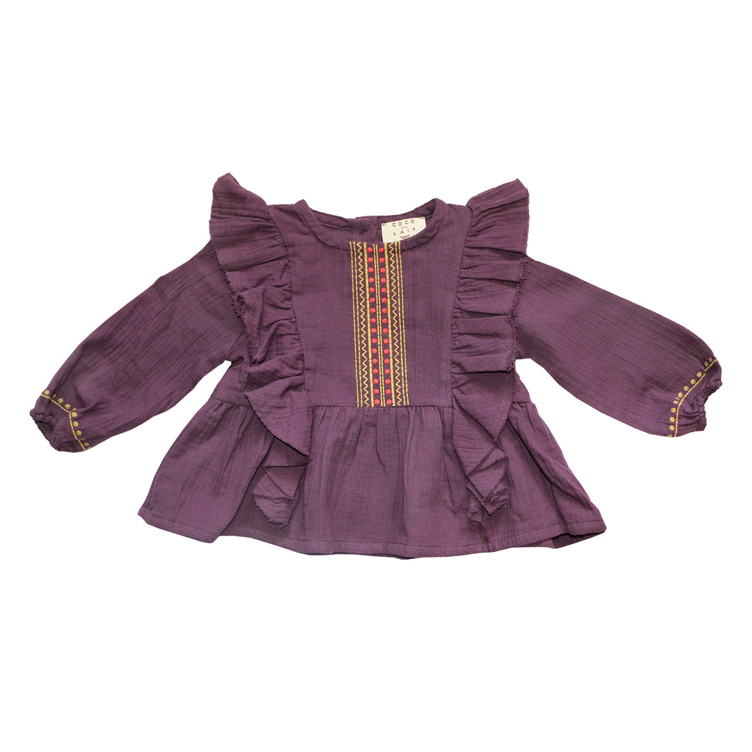 Coco Au Lait BABY BURGUNDY EMROIDERED BLOUSE Blouse Prune Purple