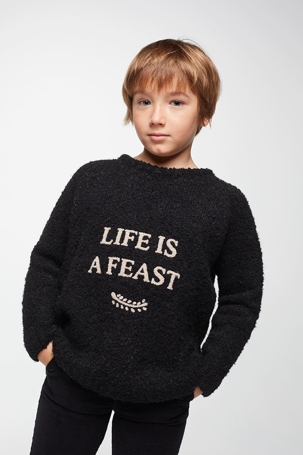 Load image into Gallery viewer, Coco Au Lait BABY LIFE IS A FEAST SWEATER Sweater Black Sand