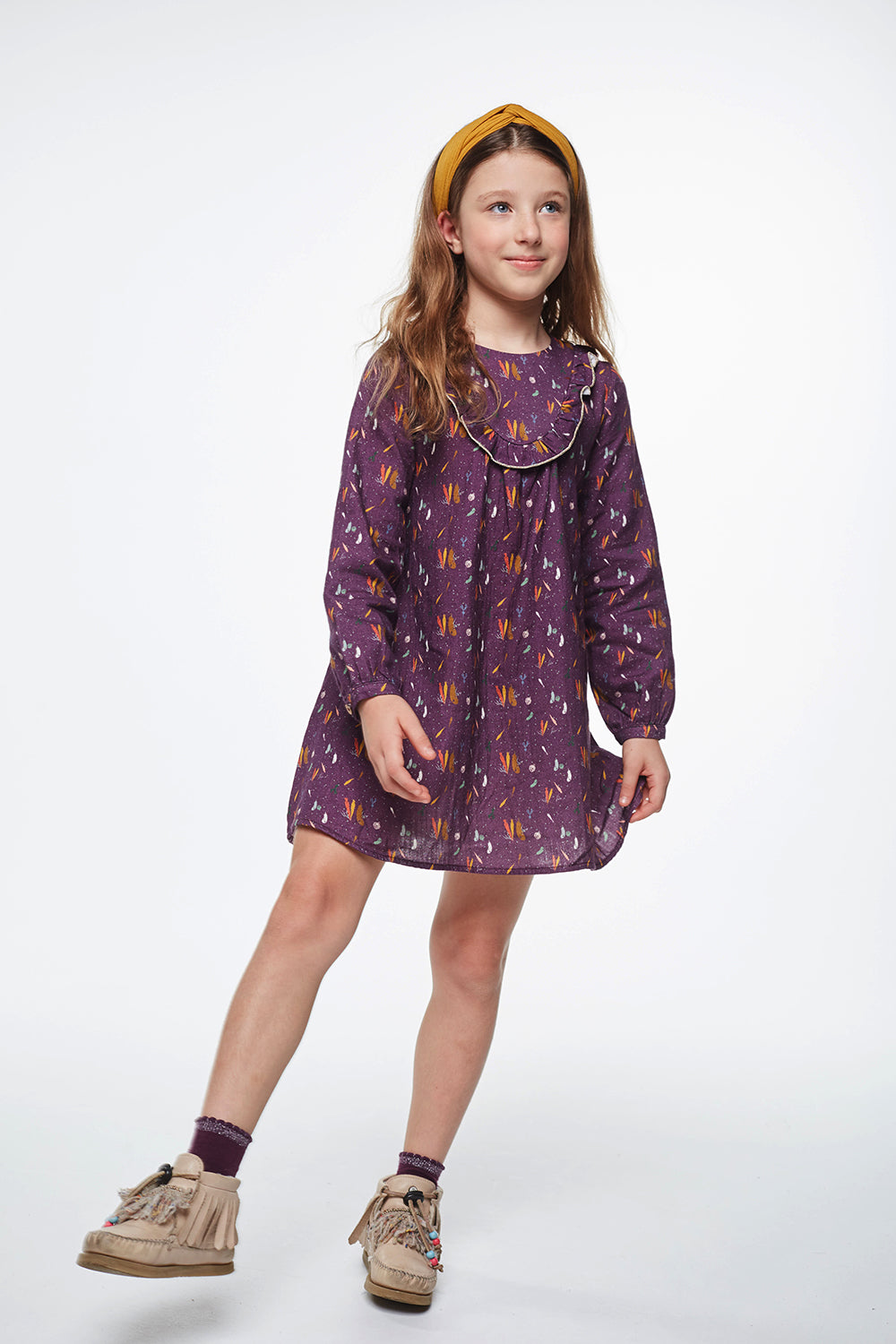 Load image into Gallery viewer, Coco Au Lait BURGUNDY PRINTED DRESS Dress Prune Purple