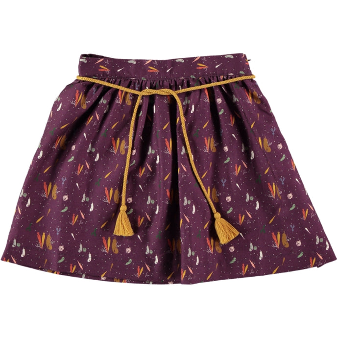 Coco Au Lait BURGUNDY PRINTED SKIRT Skirt Prune Purple
