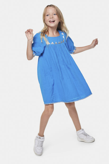 Coco Au Lait Blue Tarahumara Tunic Dress Dress Diva Blue