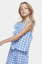Load image into Gallery viewer, Coco Au Lait Checkered White And Blue Top With Ruffle Top Squares Multicolor Blue