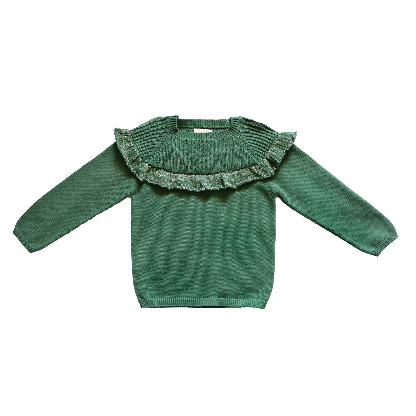 Load image into Gallery viewer, Coco Au Lait GREEN FLOUNCED SWEATER Sweater Greener Pastures