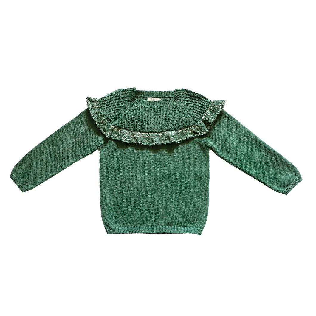 Coco Au Lait GREEN FLOUNCED SWEATER Sweater Greener Pastures