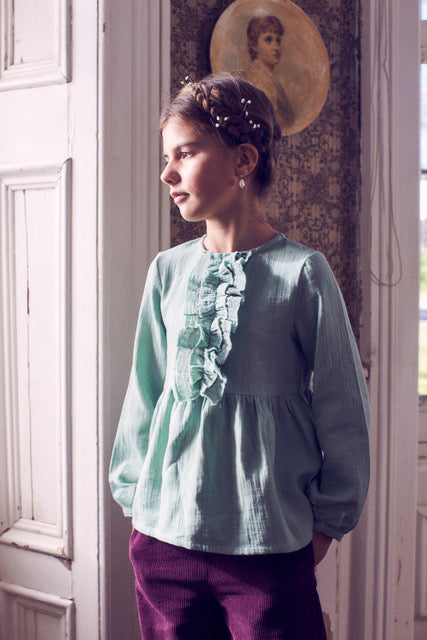 Load image into Gallery viewer, Coco Au Lait GREEN BAMBULA BLOUSE Blouse Granite Green
