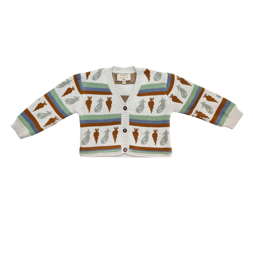 Coco Au Lait KNITTED CARDIGAN Sweater Multicolor Stripes