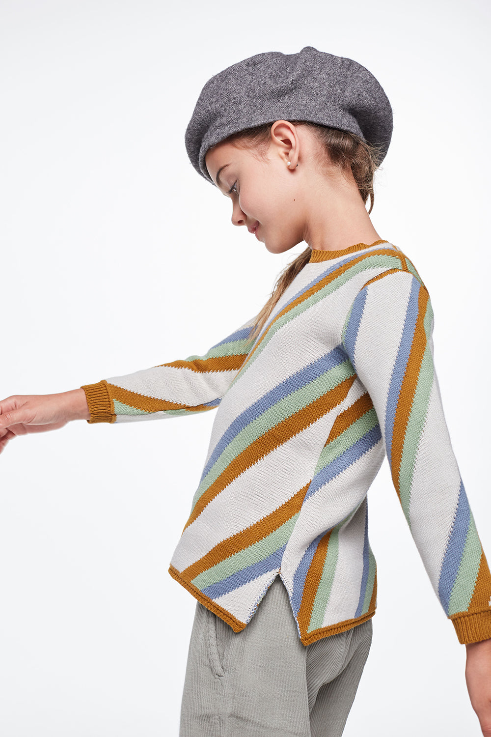 Load image into Gallery viewer, Coco Au Lait KNITTED STRIPED SWEATER Sweater Multicolor Stripes
