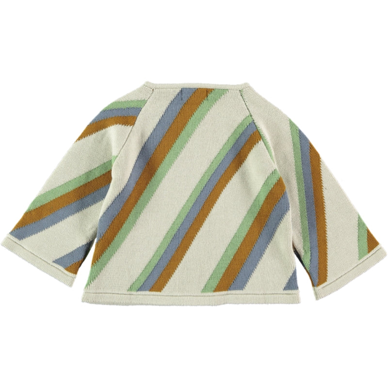 Load image into Gallery viewer, Coco Au Lait KNIT CROPPED STRIPED JACKET Sweater Multicolor Stripes
