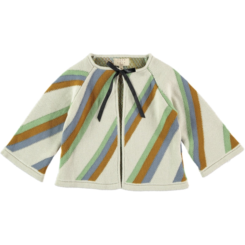Coco Au Lait KNIT CROPPED STRIPED JACKET Sweater Multicolor Stripes